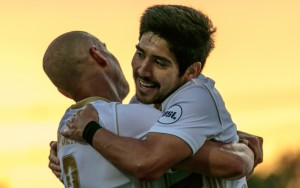 Luke Spencer and Oscar Jiminez of Louisville City celebrate a goal against the Long Island Rough Riders in the Second Round of the 2018 US Open Cup. Photo: Matthew Ballard