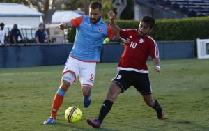 Miami FC 2 and Red Force FC players battle for the ball in their meeting in the 2018 US Open Cup. Photo: Miami FC 2