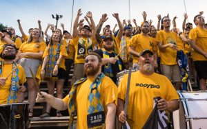 Nashville SC fans cheer on their team against Inter Nashville FC in a Second Round match in the 2018 US Open Cup. Photo: Nashville SC