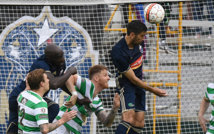 Players from North Carolina FC and Lansdowne Bhoys FC battle for the ball in their 2018 US Open Cup match. Photo: Rob Kinnan, NCFC