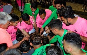 NTX Rayados huddle up at their Second Round match in the 2018 US Open Cup against OKC Energy FC. Photo: NTX Rayados