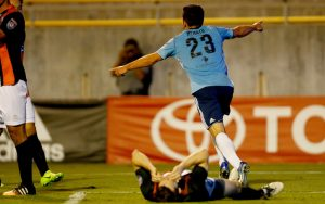 Renato Bustamante of Fresno FC celebrates his goal against Orange County FC in the Second Round of the 2018 US Open Cup. Photo: Kiel Maddox