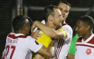 The Richmond Kickers celebrate after wining the PK shootout with Reading United AC in the Second Round of the 2018 US Open Cup. Photo: Matt Ralph | Brotherly Game