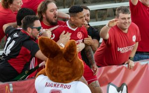Richmond Kickers celebrate with their fans during a Third Round match in the 2018 US Open Cup. Photo: Jessica Stone Hendricks Photography