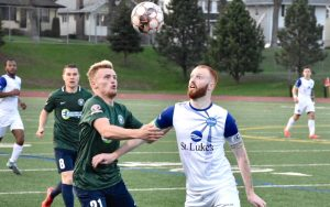 Players from Saint Louis FC and Duluth FC battle for the ball in the Second Round of the 2018 US Open Cup. Photo: Duluth FC