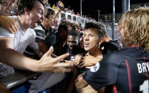 San Antonio FC players celebrate with their fans after defeating the Colorado Springs Switchbacks in a penalty kick shootout in the Third Round of the 2018 US Open Cup. Photo: Darren Abate | USL