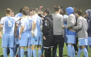 The Seacoast Phantoms huddle up during their match against the Kendall Wanderers in the 2018 US Open Cup. Photo: Ashley MacLaughlin | Seacoast United Phantoms