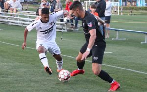 South Georgia Tormenta and Myrtle Beach Mutiny battle for the ball in an all-PDL matchup in the 2018 US Open Cup. Photo: Ian Brooking