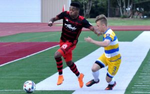 Former division rivals, the Portland Timbers U-23s and the Kitsap Pumas squared off in the 2018 US Open Cup  for the first time since Kitsap left for the NPSL. Photo: Allison Andrews | SoccerCityUSA.com