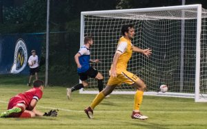 Tucker Hume of Nashville SC scores one of his two goals against Inter Nashville FC in the Second Round of the 2018 US Open Cup. Photo: Nashville SC