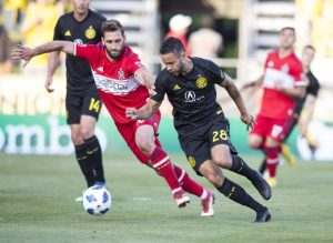 Chicago Fire and Columbus Crew players battle for the ball in their Fourth Round match in the 2018 US Open Cup. Photo: Columbus Crew SC.