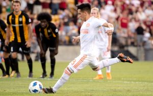 Ezequiel Barco of Atlanta United converts a penalty kick against the Charleston Battery in the Fourth Round of the 2018 US Open Cup. Photo: Atlanta United