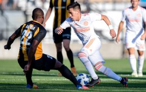 Ezequiel Barco of Atlanta United dribbles past a Charleston Battery defender in the 2018 US Open Cup. Photo: Eric Rossitch | Atlanta United