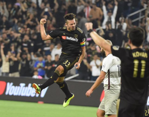 Benny Feilhaber of LAFC celebrates a goal against the Sacramento Republic in the Fifth Round of the 2018 US Open Cup. Photo: LAFC