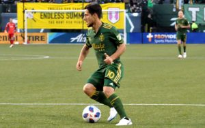 Sebastian Blanco of the Portland Timbers scored the lone goal in a 1-0 home win against the LA Galaxy in the Fifth Round of the 2018 US Open Cup. Photo: Allison Andrews | SoccerCityUSA.com