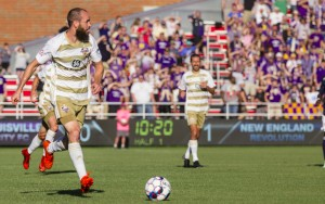 Brian Ownby of Louisville City FC looks for a teammate against the New England Revolution in the Fourth Round of the 2018 US Open Cup. Photo: Bee Buck Photography
