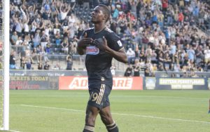 Cory Burke of the Philadelphia Union celebrates his goal against the New York Red Bulls in the Fifth Round of the 2018 US Open Cup. Photo: Bob Larson | TheCup.us