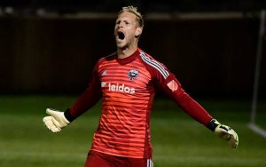 David Ousted of D.C. United celebrates during the penalty kick shootout against the Richmond Kickers in the Fourth Round of the 2018 US Open Cup. Photo: D.C. United