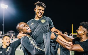 Allisson Faramilio celebrates with his FC Golden State Force teammates after upsetting the Las Vegas Lights in the 2018 US Open Cup. Photo: Michael Carranza - gossamr.com