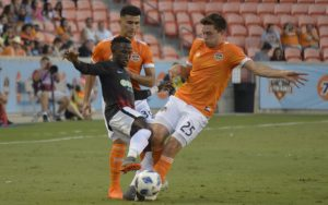 Players from the Houston Dynamo (orange) and NTX Rayados battle for the ball in their Fourth Round match in the 2018 US Open Cup. Photo: Jose Castellanos | Prost Amerika