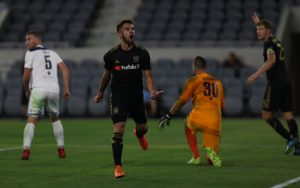 Diego Rossi of Los Angeles FC celebrates the first goal of the game against Fresno FC in the Fourth Round of the 2018 US Open Cup. Photo: Ben Goldman | LAFC