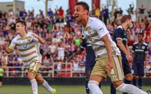 Oscar Craig of Louisville City celebrates his goal against Nashville SC in the Fifth Round of the 2018 US Open Cup. Photo: EM Dash Photography