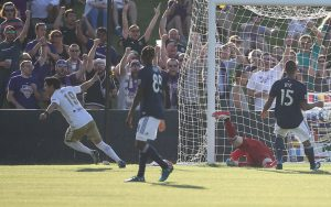Oscar Jimenez of Louisville City celebrates an equalizing goal against the New England Revolution in the 2018 US Open Cup. Photo: EM Dash Photography