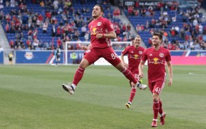 Vincent Bezecourt of the New York Red Bulls celebrates a goal scored against New York City FC in the 2018 US Open Cup. Photo: Bob Larson   TheCup.us
