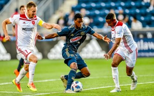 Marcus Epps of the Philadelphia Union battles for the ball with the Richmond Kickers in the 2018 US Open Cup. Photo: Greg Carroccio - Philadelphia Union