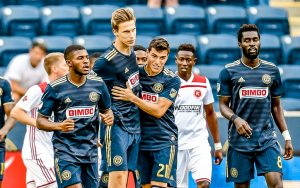 Philadelphia Union celebrate a goal against the Richmond Kickers in the 2018 US Open Cup. Photo: Greg Carroccio - Philadelphia Union