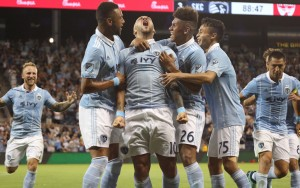 Yohan Croizet celebrates his game-winning goal for Sporting Kansas City in the club's Fifth Round match against FC Dallas in the 2018 US Open Cup. Photo: Sporting KC