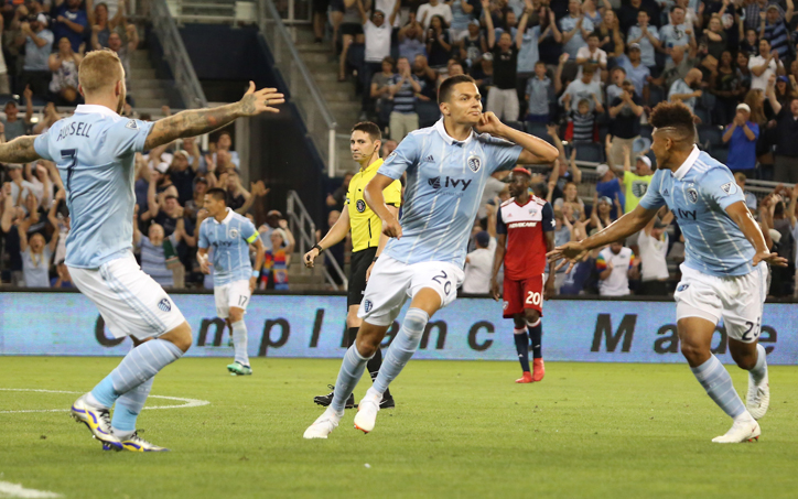 Daniel Salloi of Sporting Kansas City celebrates one of his two goals against FC Dallas in the Fifth Round of the 2018 US Open Cup. Photo: Sporting KC