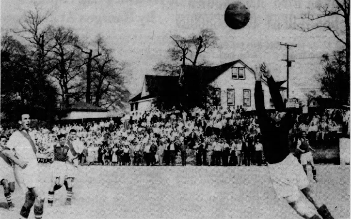A scene from the first leg of the 1958 US Open Cup Final between Pompei and Eintracht. Photo: Baltimore Sun Archives