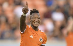 Romell Quioto of the Houston Dynamo celebrates after scoring a goal against Sporting KC in the 2018 US Open Cup Quarterfinals. Photo: Houston Dynamo