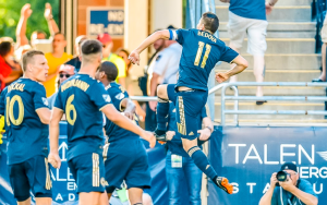 Alejandro Bedoya of the Philadelphia Union celebrates his goal against Orlando City in the 2018 US Open Cup Quarterfinals. Photo: Greg Carroccio, Philadelphia Union