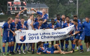 The Dayton Dutch Lions celebrate the 2018 Great Lakes Division championship after defeating the Cincinnati Dutch Lions 4-0 on July 13, 2018. Photo: Dayton Dutch Lions