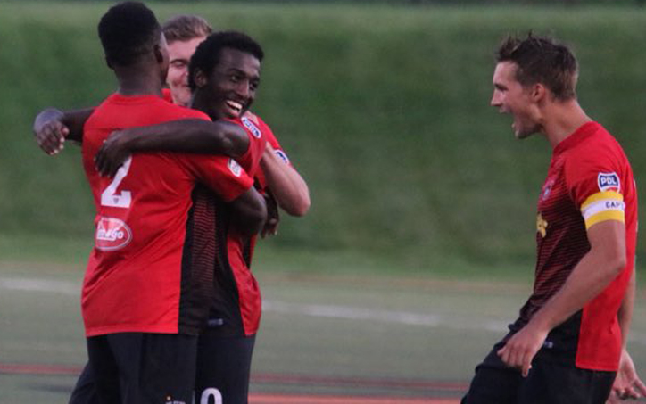 The Des Moines Menace celebrate a goal against the St. Louis Lions in the PDL regular season finale on July 13, 2018. The 3-1 win clinched the PDL regular season title for the Menace. Photo: Des Moines Menace