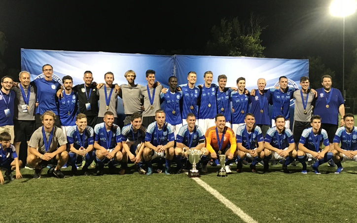 Bavarian SC poses for a team photo after defeating West Chester United 2-0 to win the 2018 USASA Amateur Cup championship. Photo: Matt Schroeder