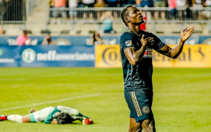 Cory Burke of the Philadelphia Union celebrates one of his two goals in a 3-0 home win over the Chicago Fire in the 2018 US Open Cup Semifinals. Photo: Chris Szagola   Philadelphia Union