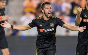 Diego Rossi of LAFC celebrates one of his three goals against the Houston Dynamo in the 2018 US Open Cup Semifinals. The match finished in a 3-3 draw and the Dynamo prevailed 7-6 on penalty kicks. Photo: Houston Dynamo