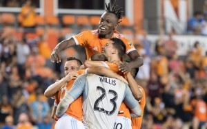 The Houston Dynamo celebrate after defeated LAFC in a PK shootout in the 2018 US Open Cup Semifinals. Photo: Houston Dynamo