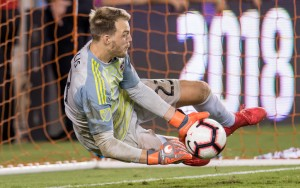 Joe Willis of the Houston Dynamo makes one of his two saves in the PK shootout against LAFC in the 2018 US Open Cup Semifinals. The Dynamo won the shootout 7-6 after a 3-3 draw. Photo: Houston Dynamo