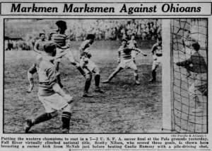 The Fall River Marksmen defeated Cleveland's Bruell Insurance 7-2 in the first leg of the 1930 National Challenge Cup Final in front of 10,000 fans at the Polo Grounds in New York City. Credit: NY Daily News