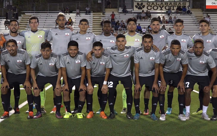 Cal FC poses for a team photo before the club's 2019 US Open Cup qualifying match against San NIcolas FC. Photo: Cal FC