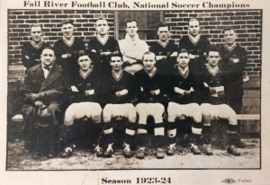 The 1923-24 Fall River Marksmen, winners of the National Challenge Cup. Sam Mark is seated to the far left.