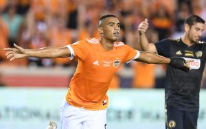 Mauro Manotas of the Housotn Dynamo celebrates one of his two goals against the Philadelphia Union in the 2018 US Open Cup Final. Photo: Houston Dynamo