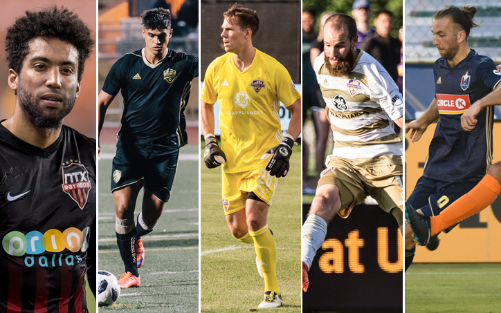 Finalists for the 2018 TheCup.us Lower Division Player of the Tournament (from left to right): Christian Okeke of NTX Rayados, Allisson Faramilio of FC Golden State Force, Tim Dobrowolski and Brian Ownby of Louisville City, Marios Lomis of North Carolina FC.