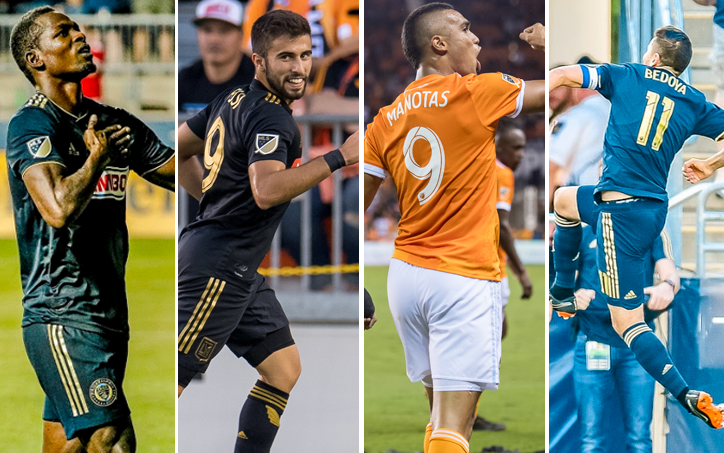 TheCup.us Player of the Tournament nominees for the 2018 Lamar Hunt US Open Cup (from left to right): Cory Burke of Philadelphia Union, Diego Rossi of LAFC, Mauro Manotas of Houston Dynamo and Alejandro Bedoya of Philadelphia Union.