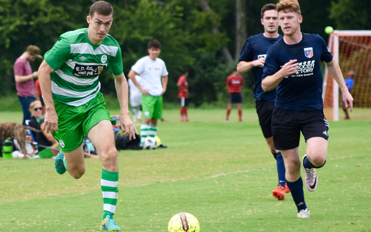 Players from the Celtic Cowboys and the San Antonio Runners challenge for the ball in a 2019 US Open Cup qualifying match. Photo: Zach Smith