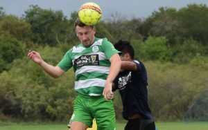 Players from the Celtic Cowboys and the San Antonio Runners challenge for a ball in the air in their 2019 US Open Cup qualifying match. Photo: Zach Smith